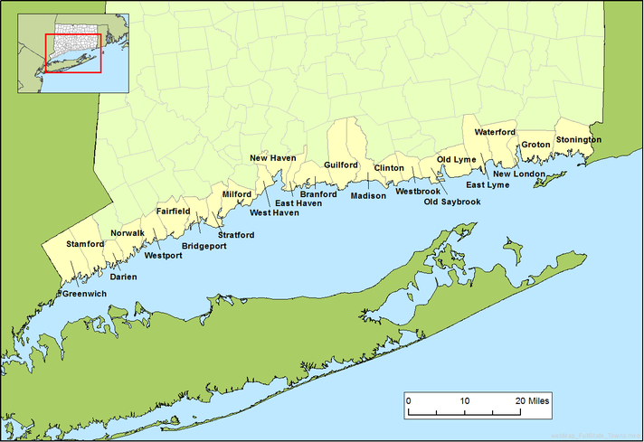 Map of Connecticut Shore with towns
